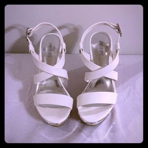 White Jennifer Lopez Wedge sandals